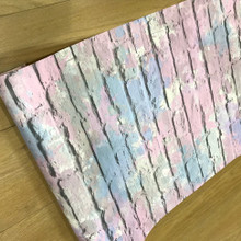 Pink Blue and Silver Paint Effect Brick Wallpaper