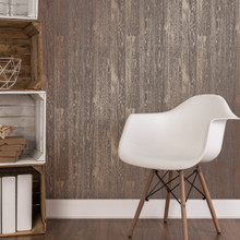Brown and Copper Wood Effect Wallpaper in Room