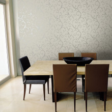 Silver and Grey Leaf Scroll Wallpaper in Room