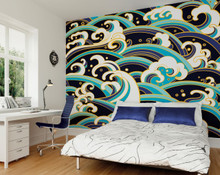Purple and Blue Anime Waves Wall Mural in Room