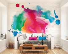 Multi Watercolour Ink on White Brick Mural in Room