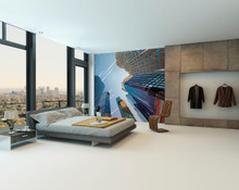 Anime Cartoon Skyscraper Wall Mural in Room