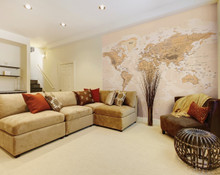 Sepia World Map Wall Mural in Room
