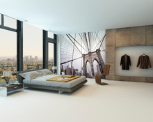 Point of View Brooklyn Bridge Wall Mural in Room