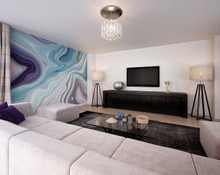 Blue Marbled Effect Wall Mural in Room