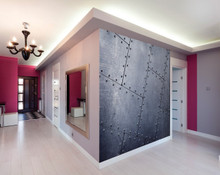 Silver Metal Tiles Wall Mural in Room