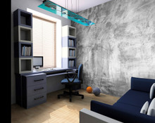 Grey Concrete Effect Wall Mural in Room