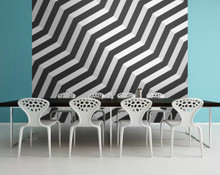 Black and White 3D Zigzag Wall Mural in Room