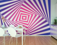 Pink and Blue Twist Geometric Wall Mural in Room