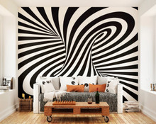 Black and White 3D Twister Wall Mural in Room