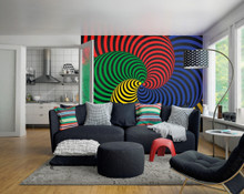 Multi-colour Hypnotic Swirls Wall Mural in Room