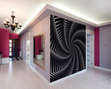 Black Spin Effect Wall Mural in Room
