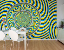 Blue and Yellow Optical Illusion Wall Mural in Room
