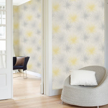 Grey and Yellow Spider Floral Wallpaper in Room