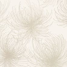 Taupe and Beige Glitter Spider Flower Wallpaper