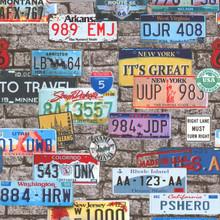 American Car Reg Plates on Grey Stone Wallpaper