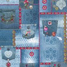 Retro Pattern Blue Jeans Wallpaper