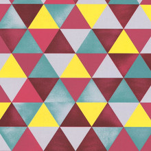 Cherry Red, Green, Grey & Yellow Triangles Wallpaper