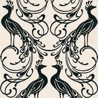 Black and cream peacock wallpaper in genuine flock 99121 - Cream flock wallpaper ...