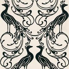 Genuine Flock Black Peacock Design on Cream Wallpaper