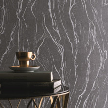 Charcoal Black Marble Wallpaper in Room
