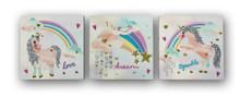 3 Mini Rainbow Unicorn Canvas Set