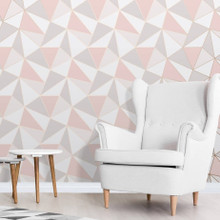 Rose Gold and Pink Geometric Wallpaper in Room