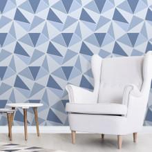 Blue Geometric Wallpaper in Room