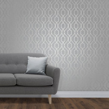 Traditional Silver Trellis Wallpaper in Room