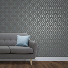 Charcoal and Teal Trellis Wallpaper in Room
