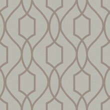 Silver Gold Trellis on Taupe Wallpaper