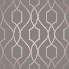 Metallic Copper Trellis on Dark Grey Wallpaper