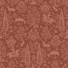 Brick Red Traditional Woodland Wallpaper