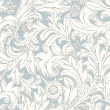 Light Blue Traditional Leaf Wallpaper