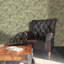 Olive Green Scroll Leaf Wallpaper in Room