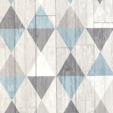 Blue Triangles on Grey Wood Wallpaper