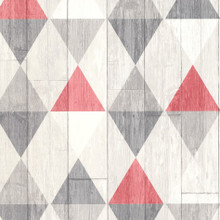 Red Triangles on Grey Wood Wallpaper