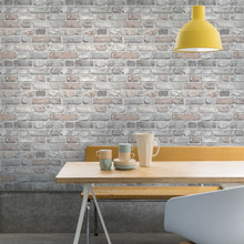 Light Grey and Pastel Brick Wallpaper in Kitchen