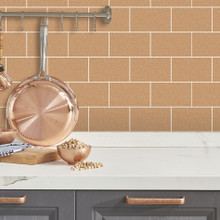 Copper Large Bathroom Tile Wallpaper with Gold Glitter