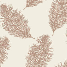 Cream and Rose Gold Feather Wallpaper