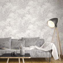Grey and Silver Trees Wallpaper in Lounge Room