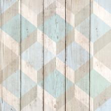 Blue 3D Cubes on Wood Wallpaper