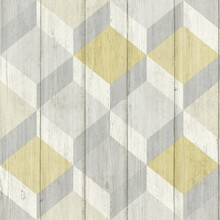 Yellow 3D Cubes on Wood Wallpaper