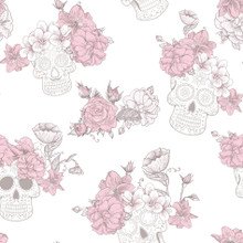 Pink Floral and White Sugar Skulls Wallpaper