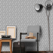 Silver 3D Modern Floral Wallpaper in Room
