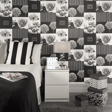 Black and White Flower Squares Wallpaper in Bedroom