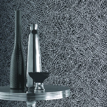 Black and Silver Swirl Wallpaper in Room