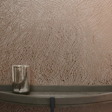 Rose Gold Foil Swirl Wallpaper in Room
