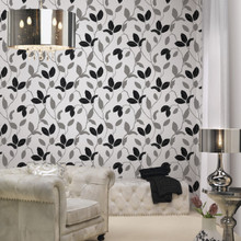 Silver and Black Leaf Wallpaper in Room