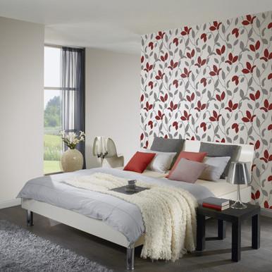 Red Leaf Pattern Wallpaper in Bedroom